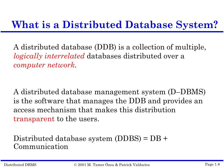 What is a Distributed Database System?