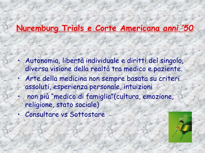 Nuremburg trials e corte americana anni 50
