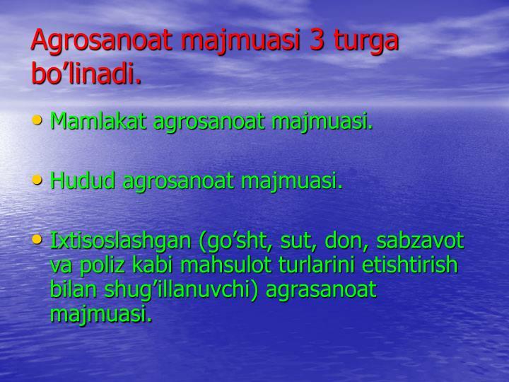 Agrosanoat majmuasi 3 turga bo'linadi.