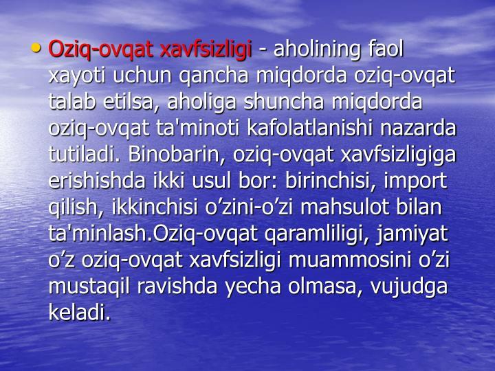 Oziq-ovqat xavfsizligi