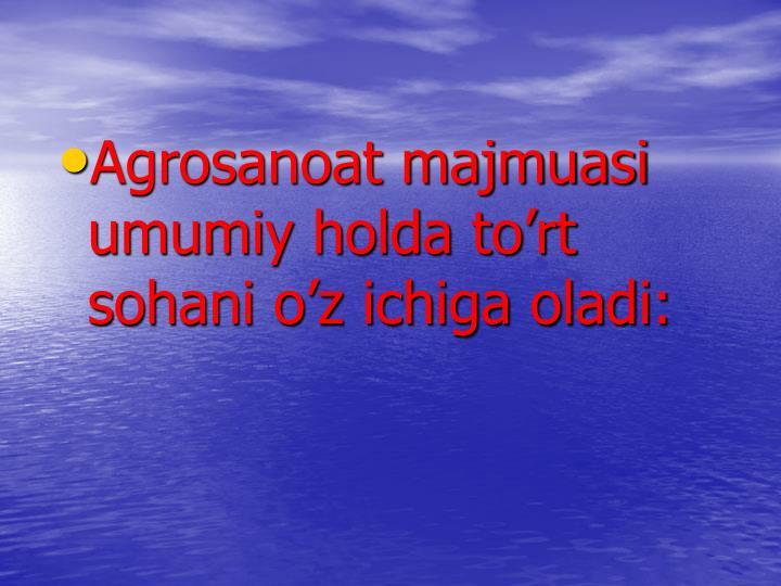 Agrosanoat majmuasi umumiy holda to'rt sohani o'z ichiga oladi: