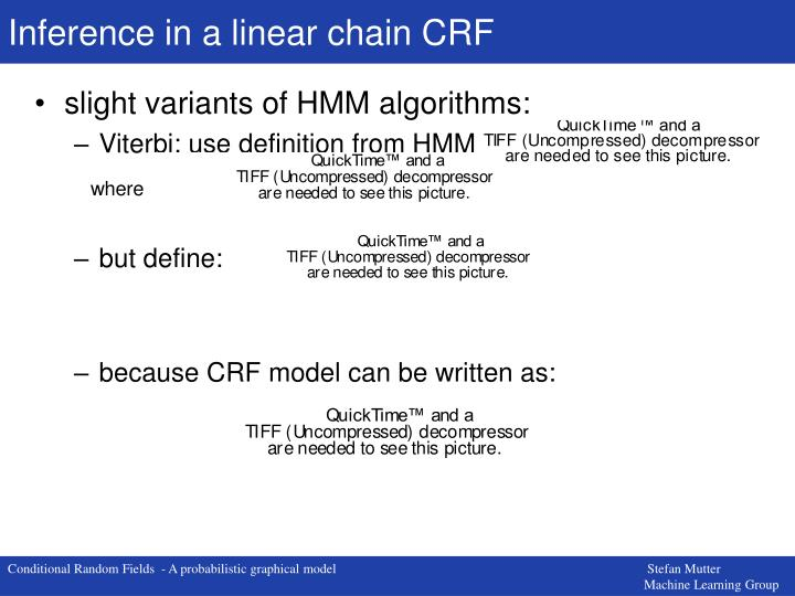 Inference in a linear chain CRF
