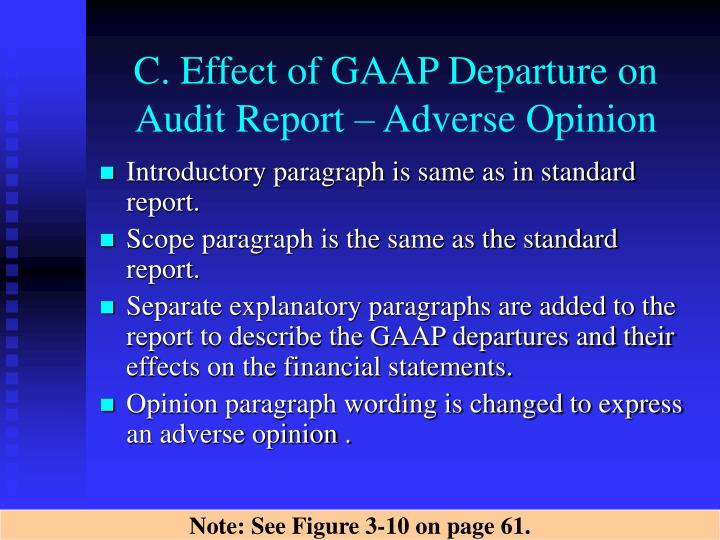 C. Effect of GAAP Departure on Audit Report – Adverse Opinion