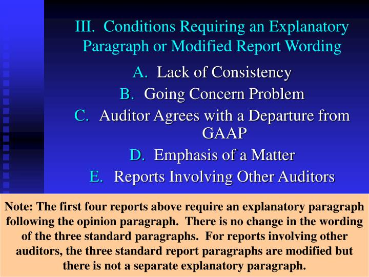 III.  Conditions Requiring an Explanatory Paragraph or Modified Report Wording
