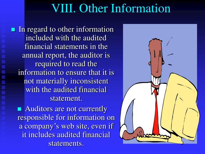 VIII. Other Information