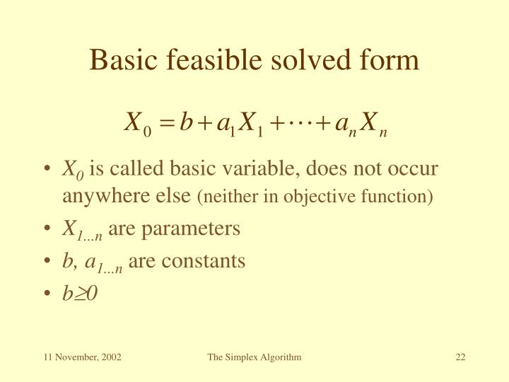 Basic feasible solved form