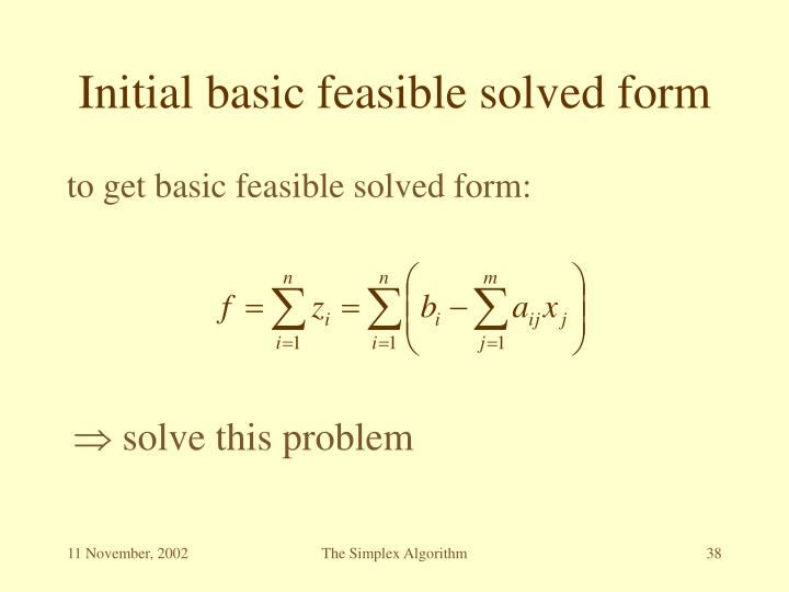 Initial basic feasible solved form