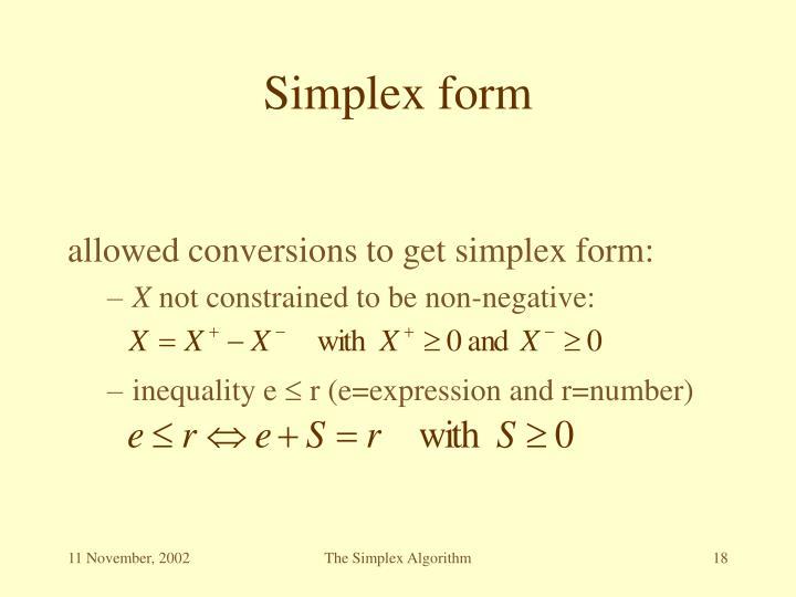 Simplex form