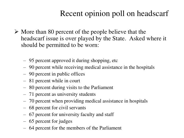 Recent opinion poll on headscarf