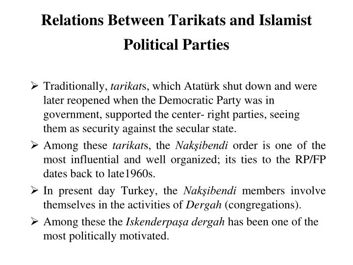 Relations Between Tarikats and Islamist Political Parties