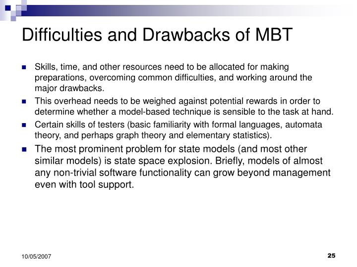 Difficulties and Drawbacks of MBT