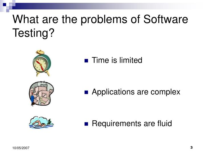 What are the problems of software testing
