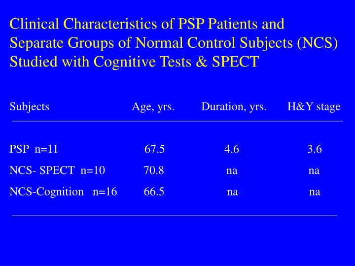 Clinical Characteristics of PSP Patients and Separate Groups of Normal Control Subjects (NCS) Studied with Cognitive Tests & SPECT