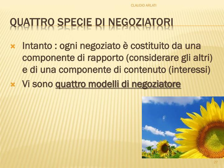 Intanto : ogni negoziato è costituito da una componente di rapporto (considerare gli altri) e di una componente di contenuto (interessi)