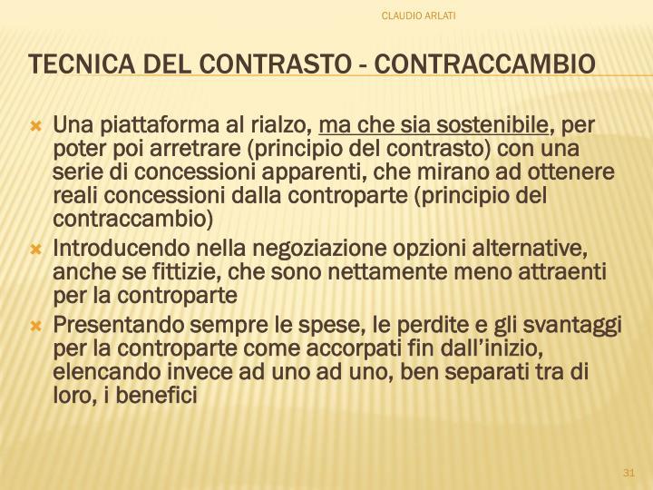 TECNICA DEL CONTRASTO - CONTRACCAMBIO