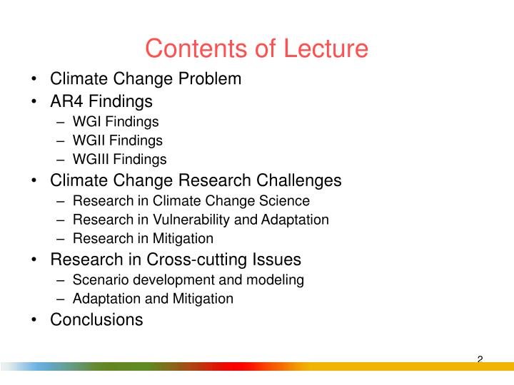 Contents of lecture