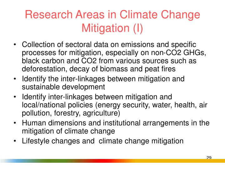 Research Areas in Climate Change Mitigation (I)