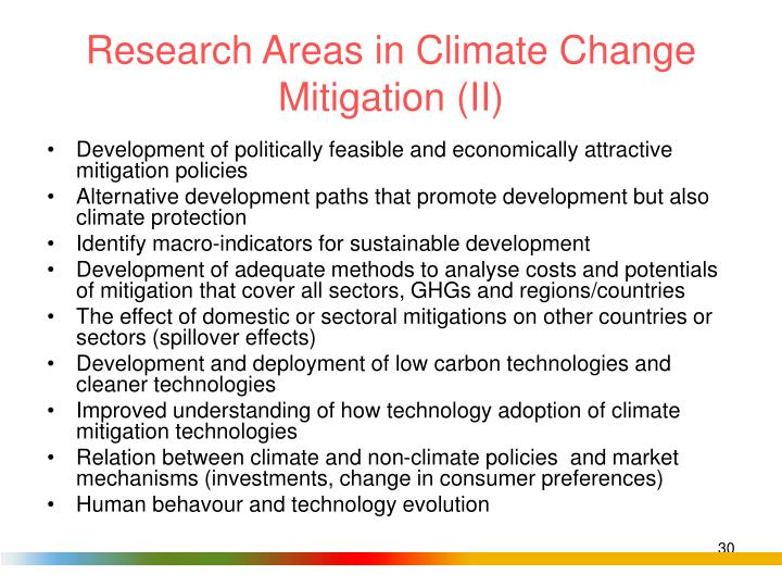 Research Areas in Climate Change Mitigation (II)