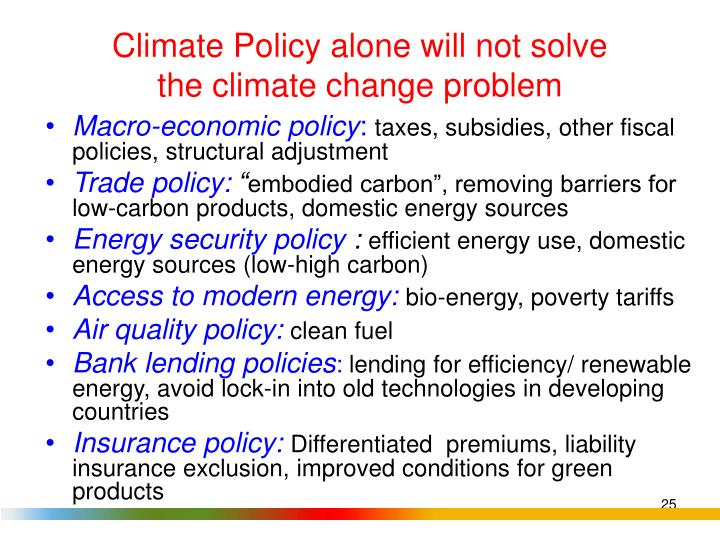 Climate Policy alone will not solve