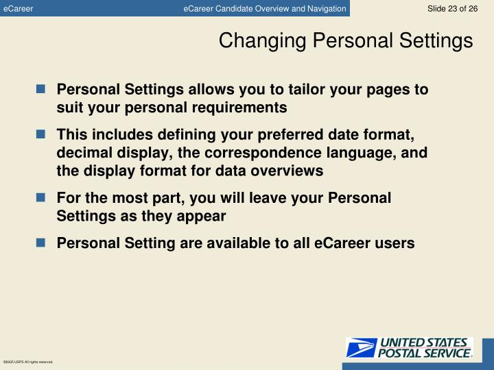 Changing Personal Settings