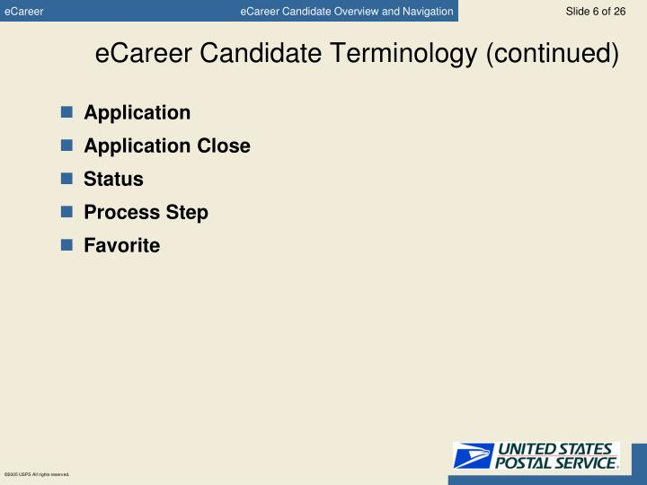 eCareer Candidate Terminology (continued)
