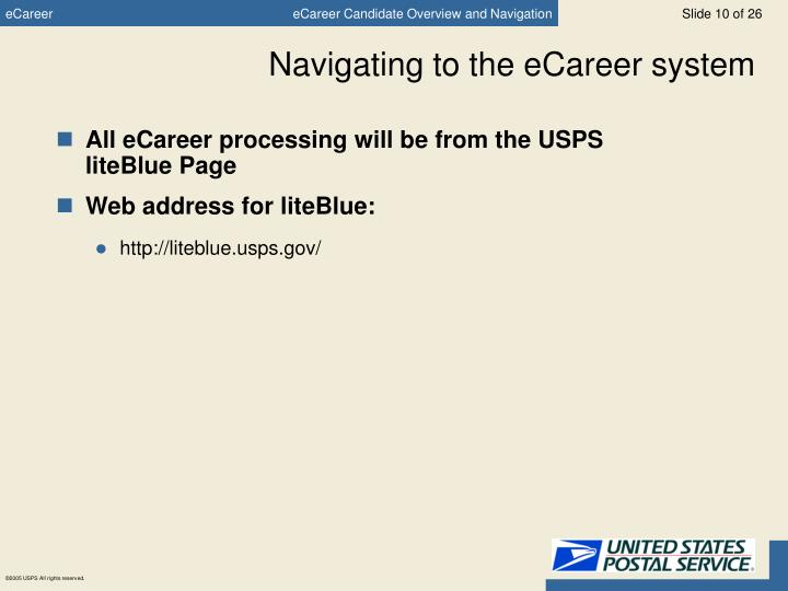 Navigating to the eCareer system