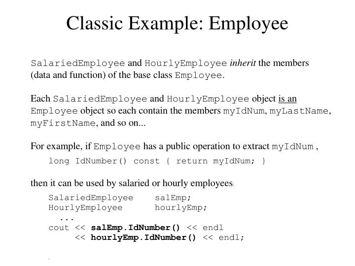 Classic Example: Employee