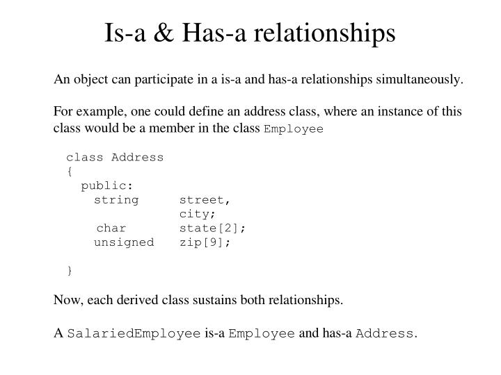 Is-a & Has-a relationships
