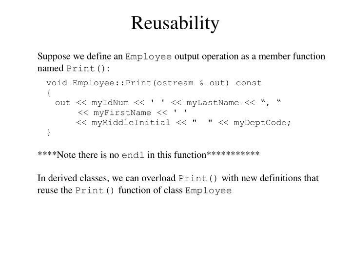 Reusability