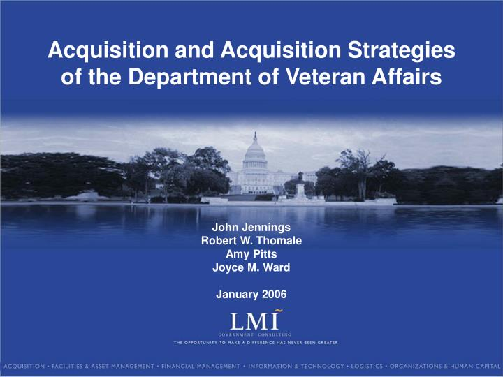 acquisition and acquisition strategies of the department of veteran affairs n.