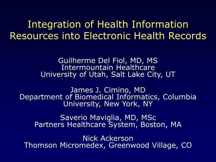 integration of health information resources into electronic health records n.