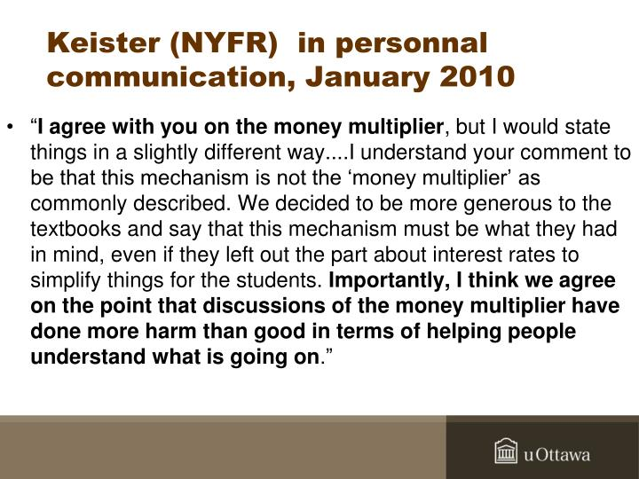 Keister (NYFR)  in personnal communication, January 2010