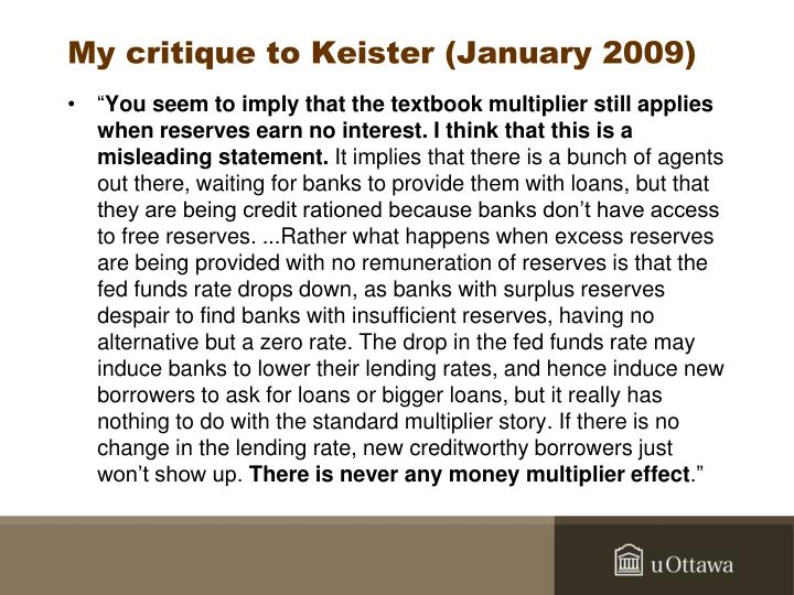My critique to Keister (January 2009)