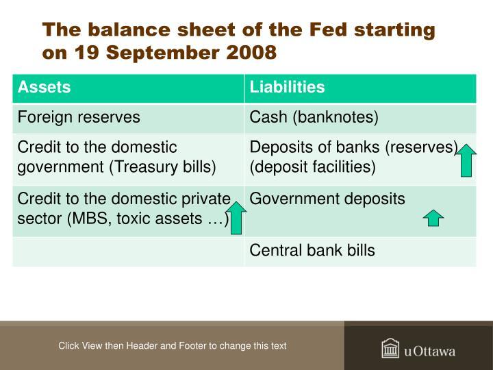 The balance sheet of the Fed starting on 19 September 2008