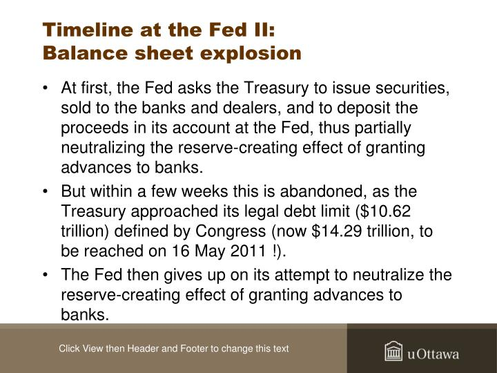 Timeline at the Fed II: