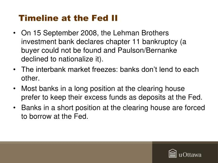 Timeline at the Fed II