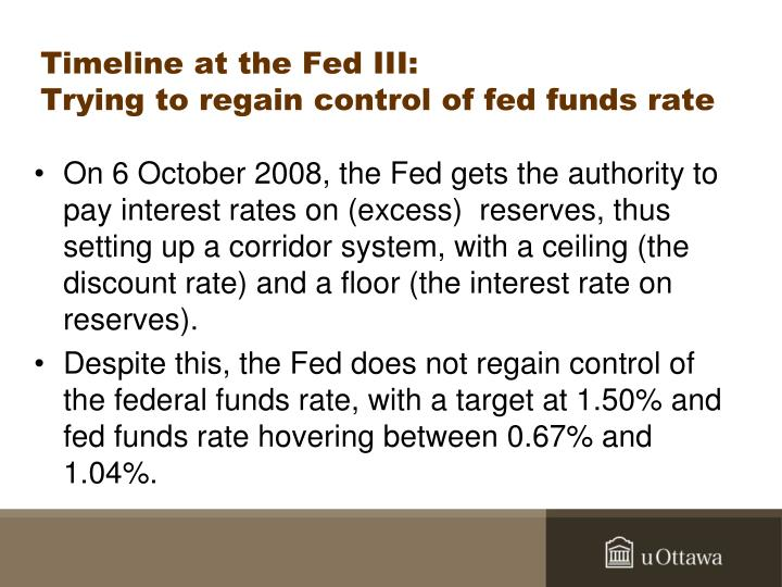 Timeline at the Fed III: