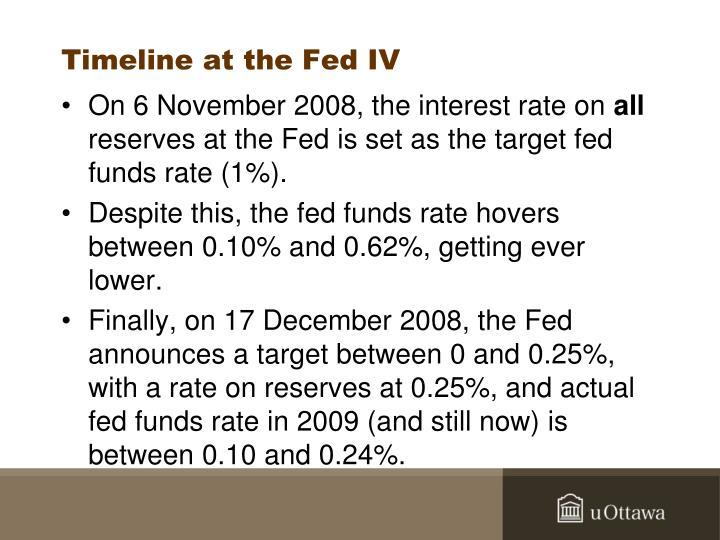 Timeline at the Fed IV