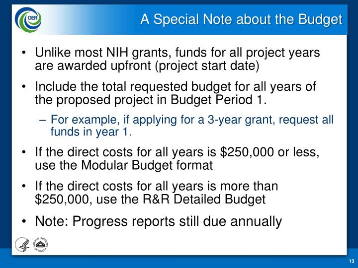 A Special Note about the Budget