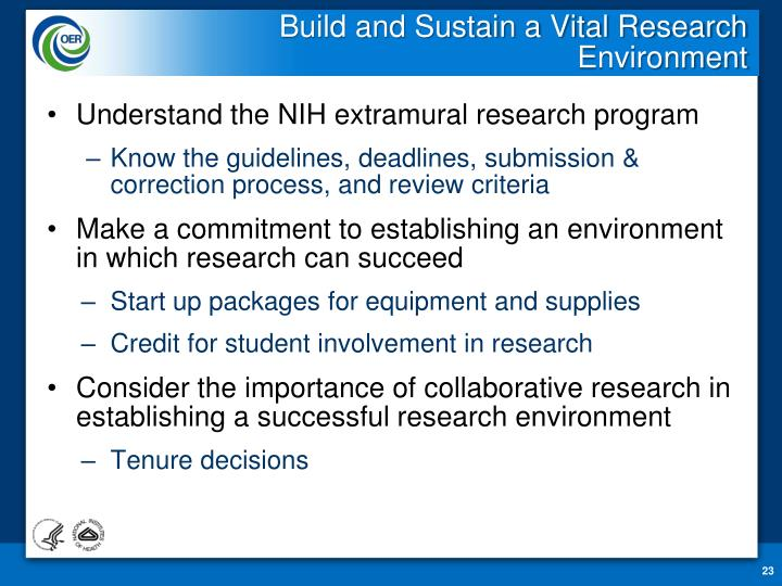 Build and Sustain a Vital Research Environment