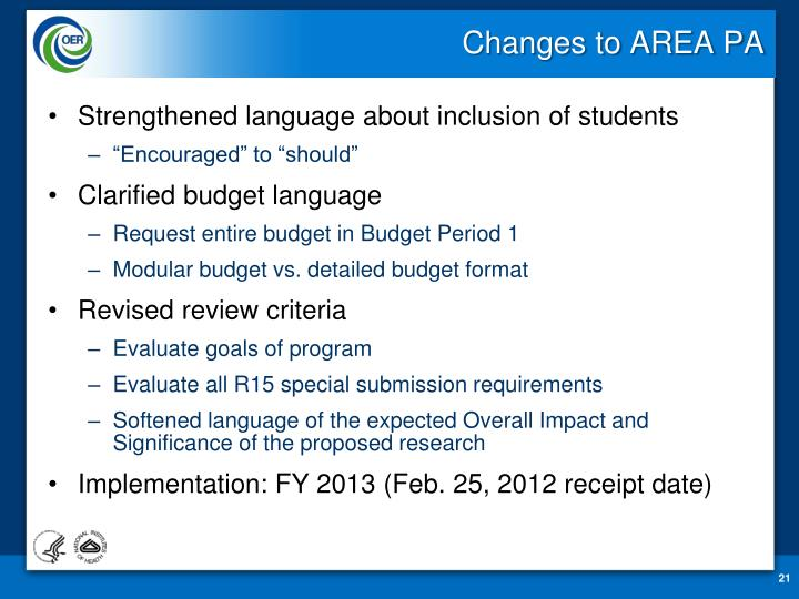 Changes to AREA PA
