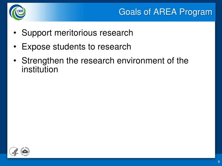 Goals of AREA Program