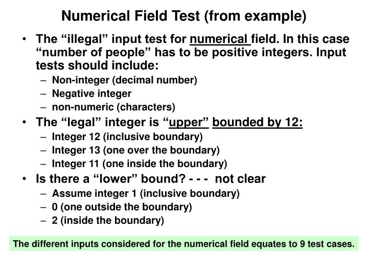 Numerical Field Test (from example)