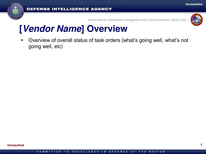 Vendor name overview