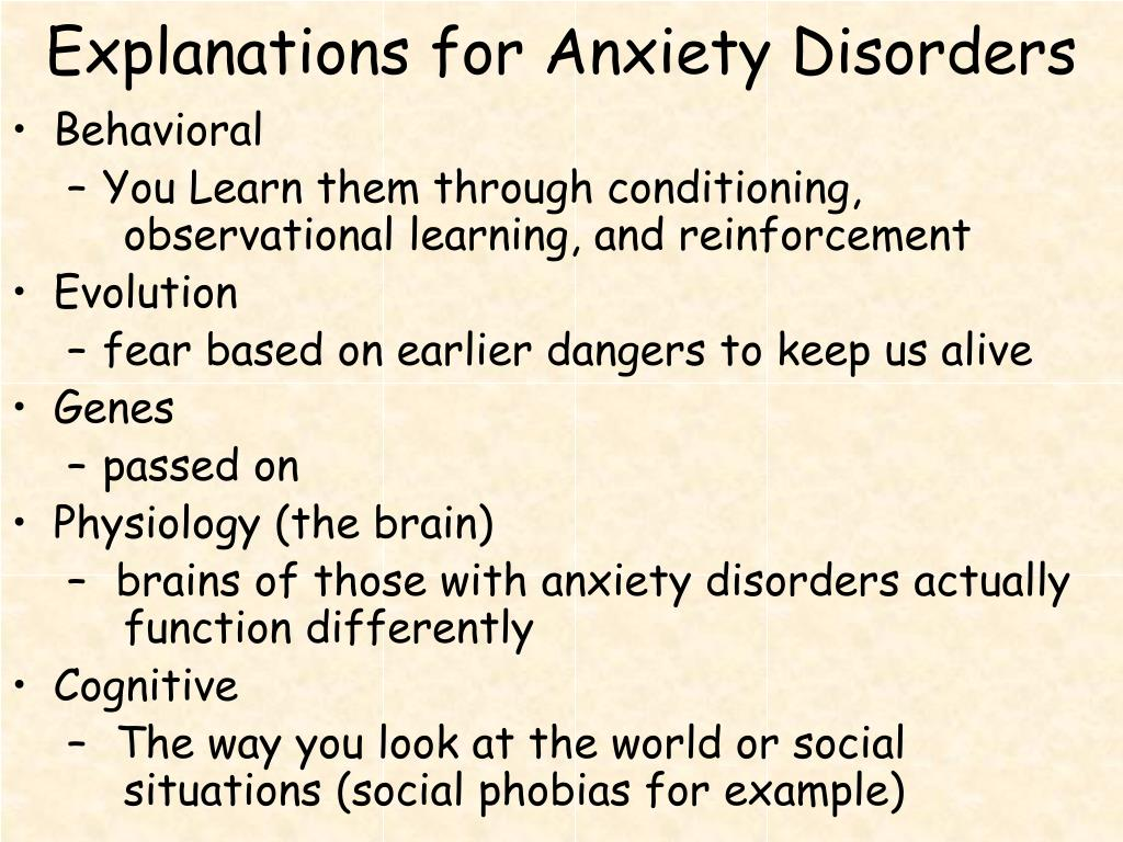 PPT - Anxiety Disorders PowerPoint Presentation - ID:4678671