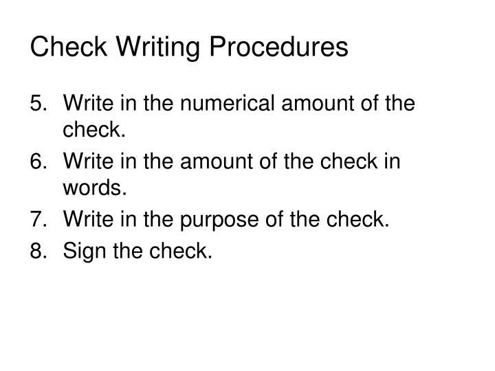 Check Writing Procedures