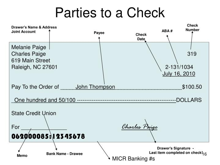 Parties to a Check