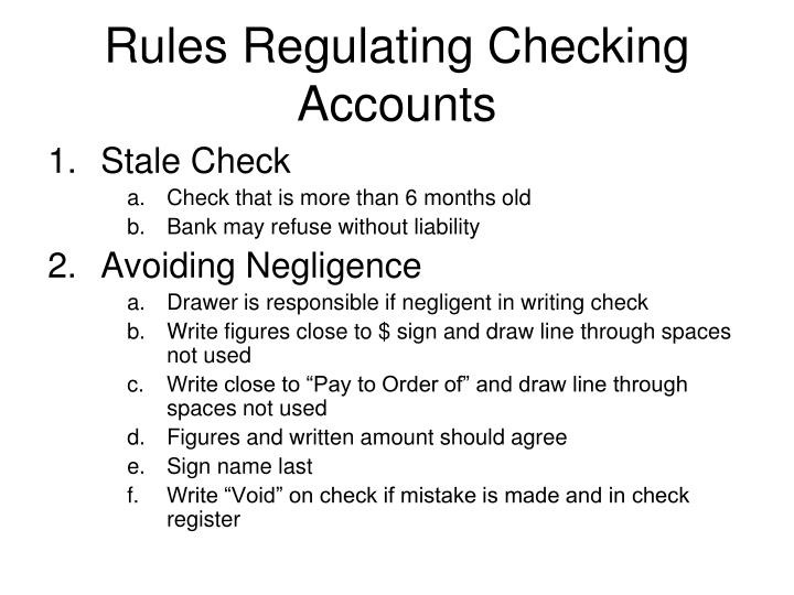 Rules Regulating Checking Accounts