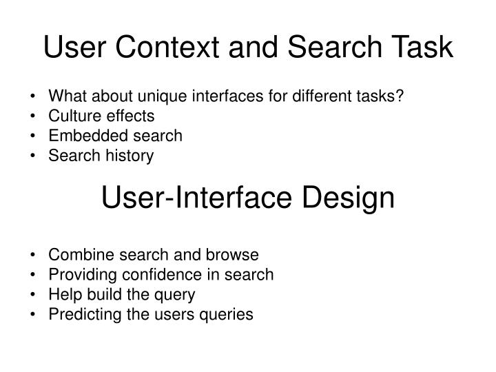 User Context and Search Task