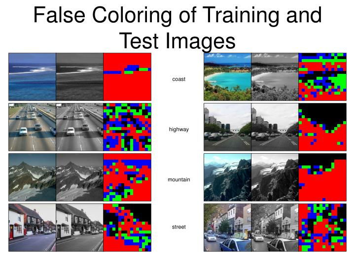 False Coloring of Training and Test Images